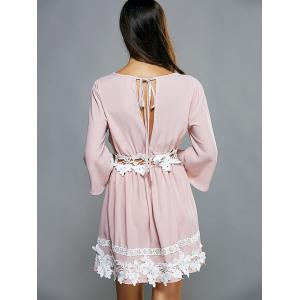 Plunging Neck Laciness Casual Cute Dress - PINK M