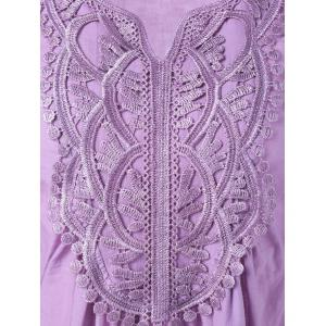 Lace Splicing Long Sleeve Peasant Blouse - LIGHT PURPLE S