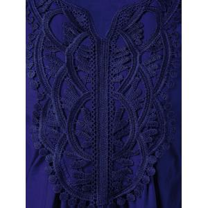 Lace Splicing Long Sleeve Peasant Blouse - DEEP BLUE S
