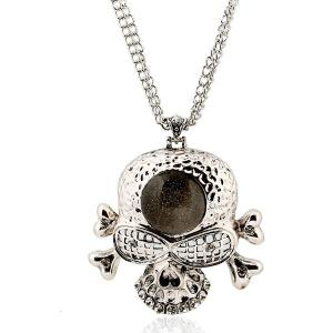 Faux Gem Rhinestone Skull Sweater Chain - SILVER