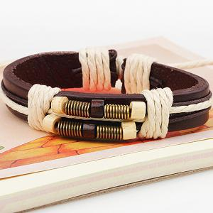 Rope Decorated Faux Leather Bracelet -