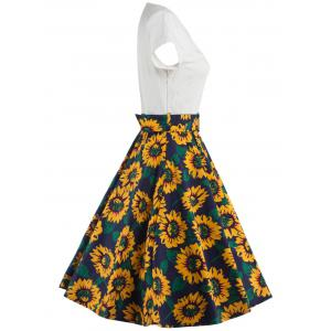 Print Patched A Line Dress - YELLOW 2XL