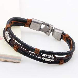 Vintage Faux Leather Layered Braided Bracelet -