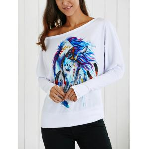 Skew Collar Cartoon Horse Print T-Shirt - WHITE XL
