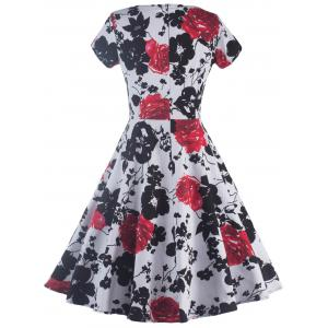 Short Sleeve Flower Print Swing Dress - BLACK AND WHITE AND RED 2XL