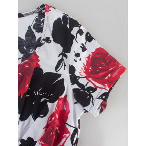 Short Sleeve Flower Print Swing Dress - BLACK/WHITE/RED 2XL