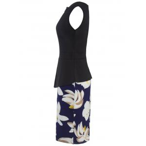 Flower Patched Bodycon Dress - BLUE AND BLACK 2XL