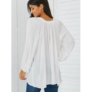 Lantern Sleeve Smock Blouse - WHITE XL