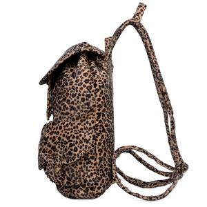 Drawstring Leopard Printed Metal Backpack -