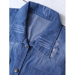 Ripped Four Pockets Denim Shirt -