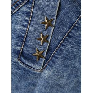 Star Rivet Icon Embellished Denim Dress -