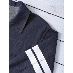 Letter Pattern Striped Loose-Fitted Jacket -
