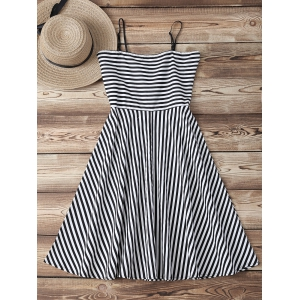 Retro Sweetheart Neck Stripe Backless Flare Dress - STRIPE XL