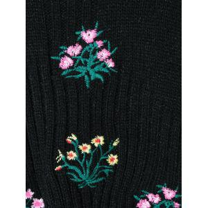 Floral Print Long Sleeve Knitwear - BLACK ONE SIZE