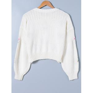 Floral Print Long Sleeve Knitwear - WHITE ONE SIZE