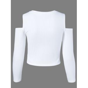 Cold Shoulder Plain Cropped Sweater - WHITE XL