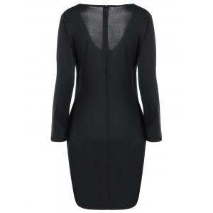 Long Sleeve V Neck Asymmetrical Dress - BLACK XL