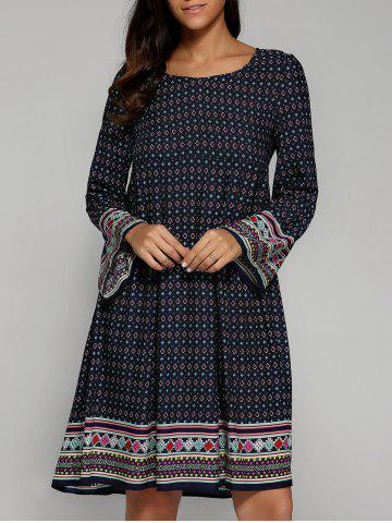 Outfit Ethnic Tribal Print Smock Dress PURPLISH BLUE XL