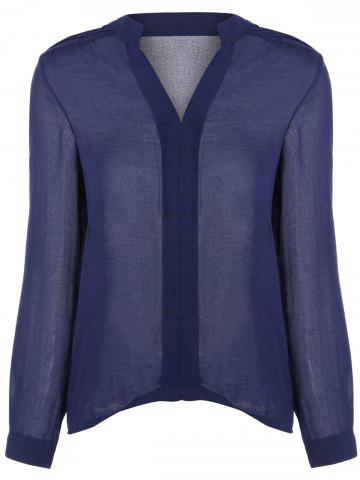 V-Neck Loose-Fitting Chiffon Blouse - Deep Blue - L