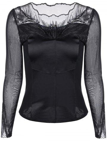 Chic Mesh-Insert Embroidered Slimming Blouse