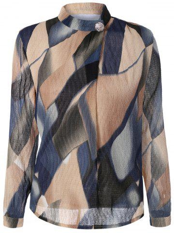 Chic Stand Collar Printed Texture Blouse