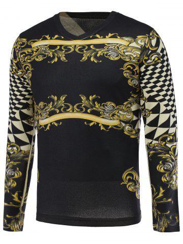 Fancy 3D Floral and Geometric Print V-Neck Long Sleeve Sweater COLORMIX 3XL