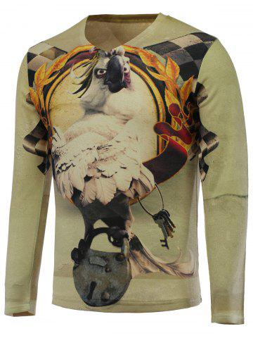 Sale 3D Funny Eagle Print V-Neck Long Sleeve Sweater