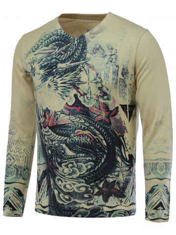 3D Dragon Print V-Neck Long Sleeve Sweater - COLORMIX 3XL
