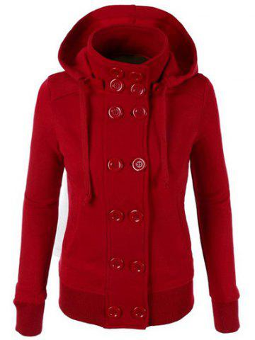Chic Hooded Long Sleeve Pure Color Double-Breasted Women's Hoodie - RED L