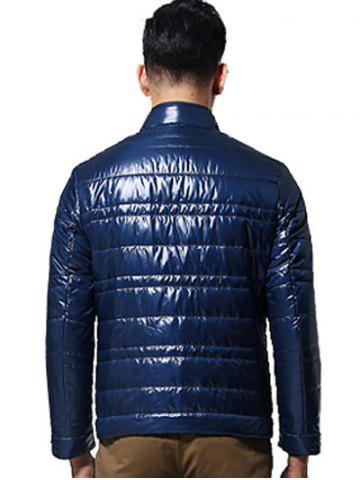 Sale Zippered Stand Collar Long Sleeves Wadded Coat ODM Designer - 3XL BLUE Mobile