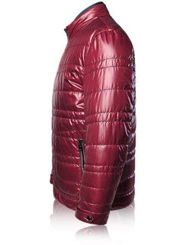Affordable Zippered Stand Collar Long Sleeves Wadded Coat ODM Designer - 3XL CLARET Mobile