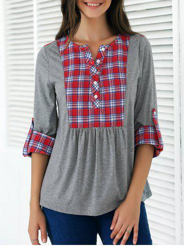 Shops Plaid Print Patchwork Buttoned Blouse GRAY AND RED XL