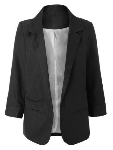 Shop Simple Design Lapel Roll Sleeve Pure Color Women's Blazer