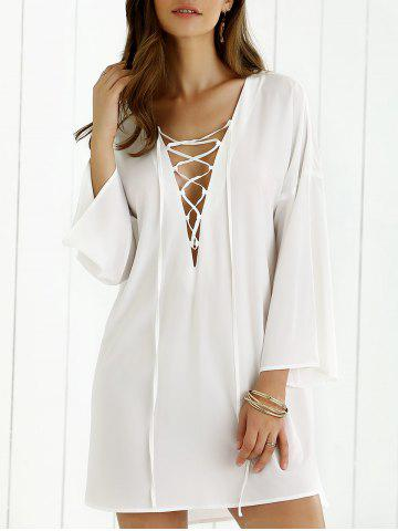 New Lace-Up Bell Sleeve Smock Dress