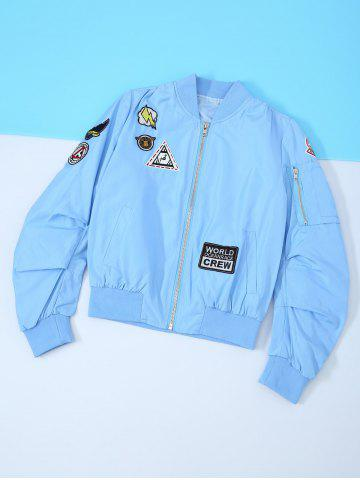 Buy Patched Zipper Bomber Jacket