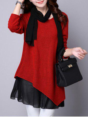 New Long Sleeve Faux Twinset Asymmetric Blouse RED S