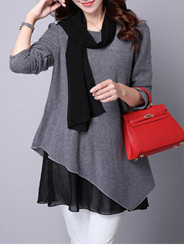 Online Long Sleeve Faux Twinset Asymmetric Blouse - L GRAY Mobile