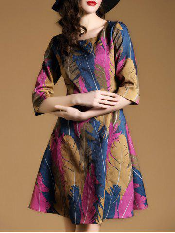 Fashion Retro Feather Printed Fitted A Line Dress