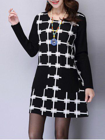 Sale Front Pocket Plaid Printed Long Sleeve Mini Dress