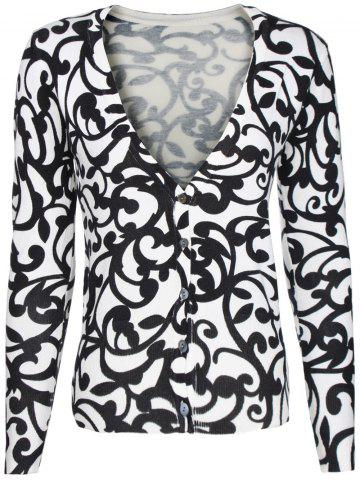 Hot Two-Tone Floral Pattern Cardigan