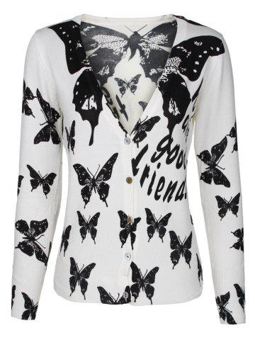 Shops Two-Tone Butterfly and Letter Cardigan