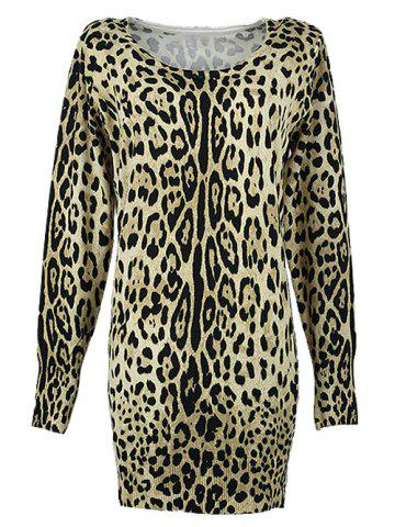 Online Long Sleeves Leopard Knitted Pullover