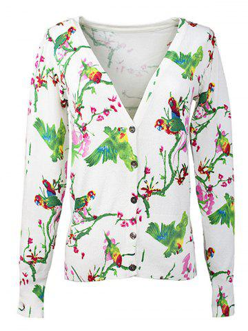 New Buttoned Birdie Print Cardigan