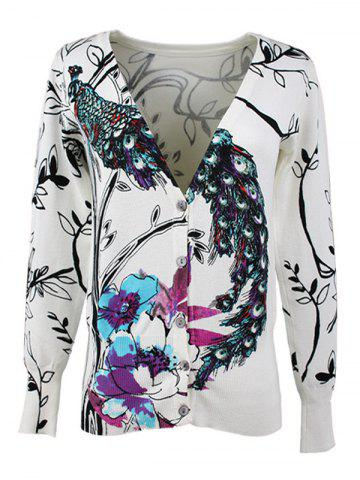Shops V-Neck Peacock and Floral Pattern Cardigan
