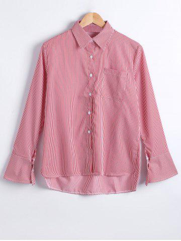 Online Striped Print Trumpet Sleeves Shirt