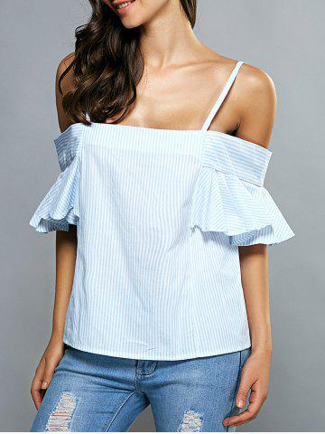 Buy Cold Shoulder Striped Flounce Blouse