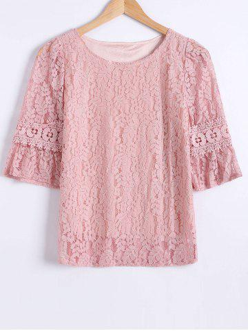 Online Laciness Flare Sleeves Floral T-Shirt