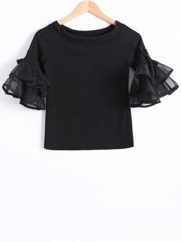 Latest Organza Flounce Sleeves Tiered T-Shirt