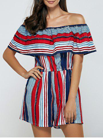 Cheap Off-The-Shoulder Striped Overlay Romper