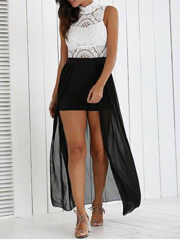 Trendy Lace Hollow Out High Slit Chiffon Dress